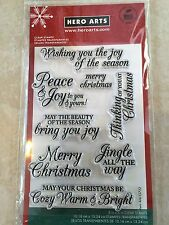 Hero Arts Merry Christmas Message Clear Acrylic Stamp Set CL722 NEW