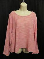 FLAX 100% Linen Top Gauzy Weave Pink Boxy Size XL