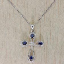 Collar de joyería con gemas de oro blanco zafiro
