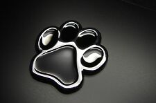 3D PAW DOG CAT  3D CHROME BLACK ANIMAL PAW STICKER, EMBLEM DECAL FROM USA