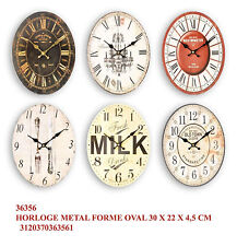 Orologio da muro parete ovale in metallo stile vintage cm 30*22 in 6 decori ass.