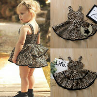 Toddler Kid Baby Girl Fashion Strap Ruffles Leopard Print Princess Dress Clothes