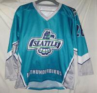 SEATTLE JR THUNDERBIRDS Game Used Worn AHA Hockey Jersey #28 Youth L