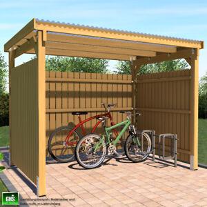 Unterstand 3x2.5 Überdachung mit 3 Seiten Wetterschutz für Fahrrad und Motorrad