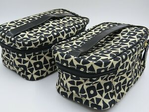 LOT 2 X NEW LIMITED Estee Lauder Cosmetic Case Makeup Travel Toiletry Bag BLACK