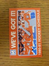 1980/1981 Fixture Card: Ice Hockey - Kalamazoo Wings (fold out style). Any fault