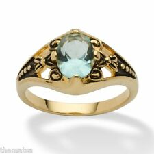 WOMENS ANTIQUED 14K GOLD BIRTHSTONE MARCH AQUAMARINE RING  5 6 7 8 9 10