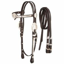 Tough-1 Royal King Browband Silver Western Headstall with Reins Horse Dark Oil