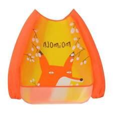 Baby Kids Waterproof Sleeve Burp Cloths Bibs Feeding Smock Painting Anti-pigment Orange