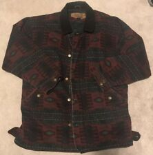 Vintage Men's L WOOLRICH Lined Field Coat Barn Rancher Chore Jacket Navajo Print