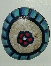 Caribbean Floral Design hand painted stone rock 2 inches Jose Fornespierantoni