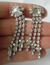 Vintage Vitoge Rhinestone earrings Art Deco Emerald Clear Long dangle Fringe