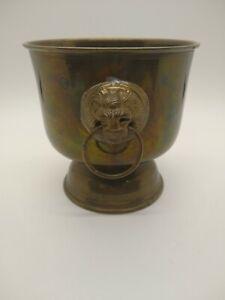 Vintage Brass Lion Head Planter/ Urn. Marked Carnat Made in India
