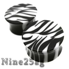 Double Flared Plugs Plug Pair 0G 8Mm Zebra Acrylic