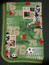 CRIB/NAP/TODDLER FLEECE BLANKET/HANDMADE - SOCCER PLAYER - GOAL - SCORE