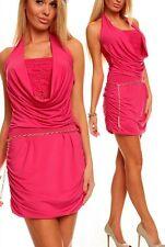 SeXy Miss Damen Neck Mini Kleid Spitze gerafft Kettengürtel 34/36/38 pink NEU