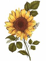 Yellow Sunflower Brown Center Flower Select-A-Size Waterslide Ceramic Decals Bx