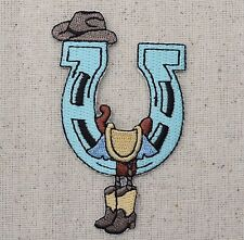 Iron On Embroidered Applique Patch Western Horseshoe Saddle Cowboy Boots Hat