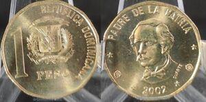 DOMINICAN REPUBLIC 1 PESO 2002 DUARTE UNC NEW COIN G432
