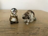 Vintage Raccoon Figurines Bone China Ceramic Kelvin Lot Of 2
