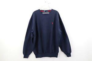 Vintage 90s Ralph Lauren Mens Large Blank Faded Crewneck Sweatshirt Navy Blue