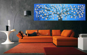 Tree of Life art painting wall décor original oil canvas abstract landscape blue