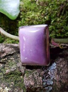 SterlingSilver/925 Ring Pink Gemstone Rectangle Cabochon Size L1/2