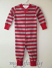 HANNA ANDERSSON Baby Organic Zip Sleeper Red Heather Grey Stripe 70 9-12 mos NWT