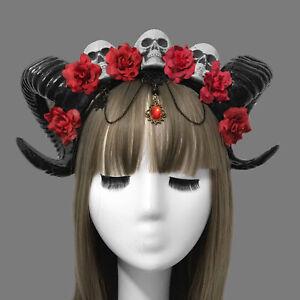 Gothic Sheep Horn Cosplay Headdress Halloween Stereo Devil Three Skull Headband