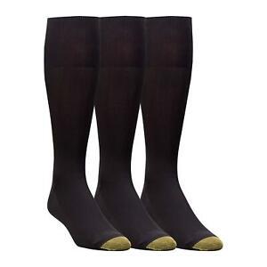 Gold Toe Men's 3-Pack Metropolitan Over-The-Calf Dress Socks,, Black, Size 10.0