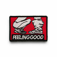Hook Loop Feeling Good Patch Embroidered Sew On Badge Fabric DIY Craft Sticker