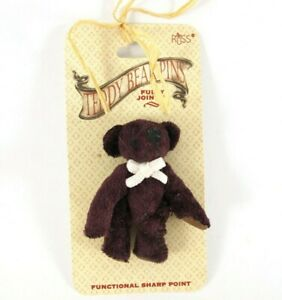 Russ TEDDY BEAR LAPEL PIN Fully Jointed Dark Purple / Brown New on Card