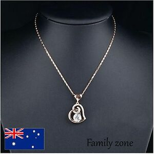 18K Rose Gold Plated  Crystals Love Heart Pendant Necklace Jewellery Set Chain