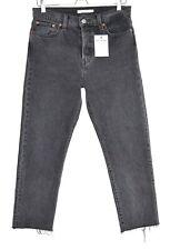 Womens Levis WEDGIE STRAIGHT High Rise BLACK Raw Hem Crop Jeans Size 12 W29