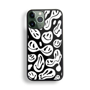 Dripping Smiley Face Trippy Melting Smiley Face 2D Sublimation Rubber Phone Case