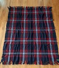 Vintage Pendleton Blackfoot Robe Red Blue Wool Plaid Throw Blanket 53 x 67