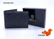 New Mens Pavini Black Bi-fold Wallet Synthetic Leather Greek Diamond Stripes