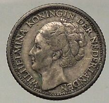 1941 Netherlands Queen WILHELMINA 25 Cents Wreath Authentic Silver Coin i57795