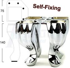 4x REPLACEMENT CHROME FURNITURE LEGS FOR SOFA, CHAIR, BEDS, CABINETS PRE DRILLED