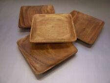 Teller Holzteller 4er Sparset 25x25cm Schale Tablet Akazienholz Mittelalter