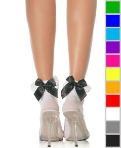 New Leg Avenue 3029 Nylon Anklets Socks With Ruffle And Satin Bow