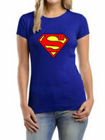 NEW WOMEN LADIES SUPERMAN PRINT WORK OUT VEST TOP T-SHIRT BLOUSE SIZE 8-10,12-14