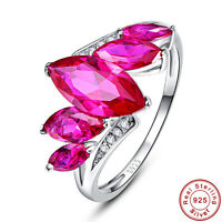 3.77CT Marquise Cut Gemstone Ruby 100% 925 Sterling Silver Ring Size L½ N½ P½ R½