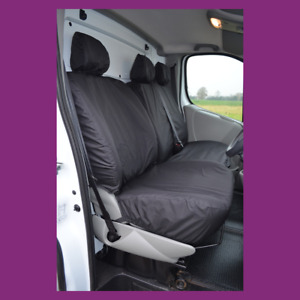 Renault Trafic 2001-06 Front 3 (NoArmrest) Tailored Waterproof Black Seat Covers