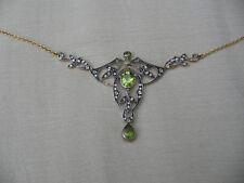 carat gold peridot diamond necklace Victorian Edwardian style lavaliere 9