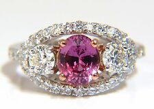 GIA Certified 2.97ct natural no heat vivid pink sapphire ring three stone wrap