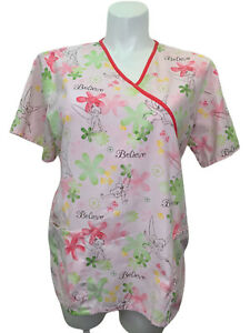 Disney Tinkerbell Scrub Top L Large Believe Pink