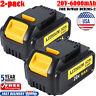 2X 20V  DCB200 For Dewalt DCB204-2 20 Volt Battery Max XR 6AH Lithium Ion DCB205