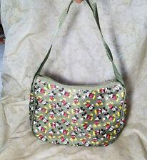 DISNEY Mickey Mouse Hobo Shoulder BAG Purse Olive Green Canvas Strap