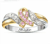 925 Silver Pink Sapphire White Topaz Two-Tone Gold Jewelry Party Ring Size 6-10